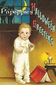 Fabric-Block-Halloween-Vintage-Postcard-Image-Black-Cat-Frightened-Boy-Candle