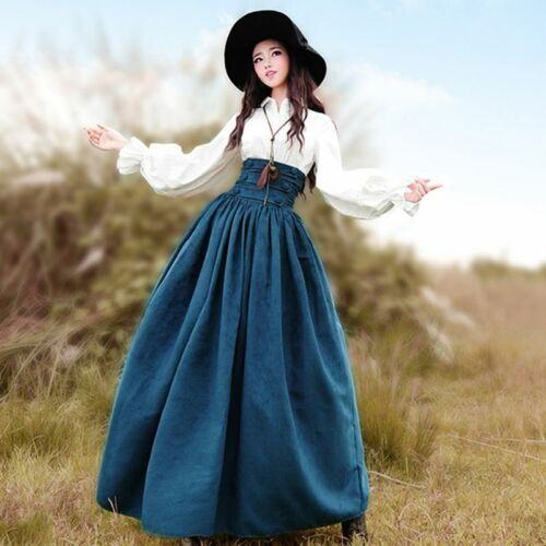Womens Medieval Vintage Skirts Victorian Dress Steampunk Costume Cosplay Dress