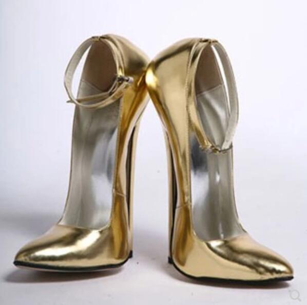 Femme Métal 18 cm talons aiguilles sexy boîte de nuit Reine Bride Cheville Talon Haut Chaussures SZ