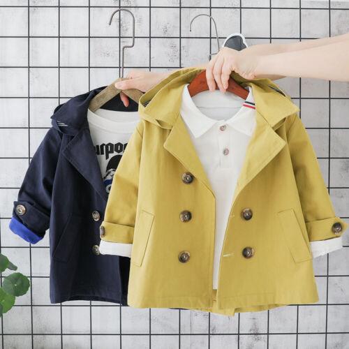 UK Toddler Baby Boy Long Sleeve Fashion Warm Hooded Wind Coat Trench Coat Jacket