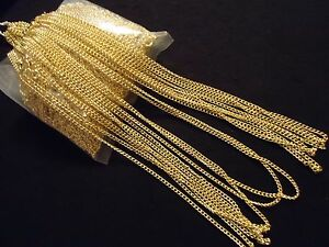 Wholesale-Lot-OF-10-Gold-Plated-16-034-2MM-Necklace-Liquidation-DIY-Chain-G1