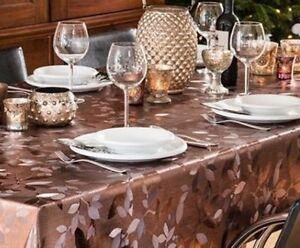 wachstuch tischdecke meterware metallic floral mocca k200 145 eckig rund oval. Black Bedroom Furniture Sets. Home Design Ideas