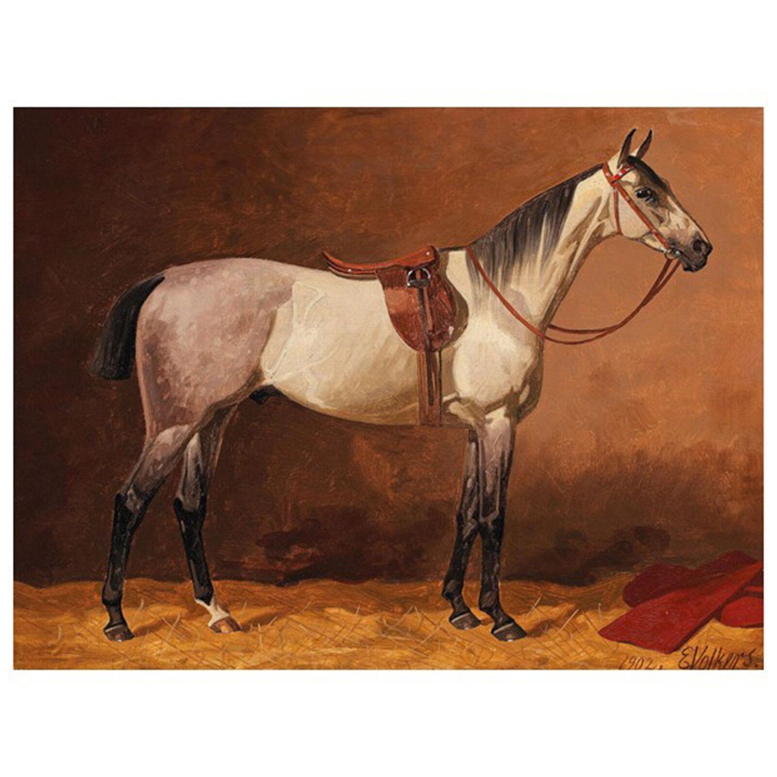Quadro su Pannello in Legno Legno Legno MDF Emil Volkers Saddled sport horse 167ac3