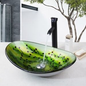 Us Oval Bathroom Tempered Glass Vessel Sink With Waterfall Faucet