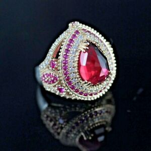 925-Sterling-Silver-Handmade-Gemstone-Turkish-Ruby-Ladies-Ring-Size-6-10
