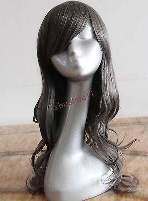 Dark gray long curly Cosplay Wig free shipping heat