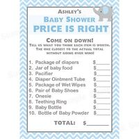 24 Baby Shower Price Is Right Game Cards - Elephant - Blue