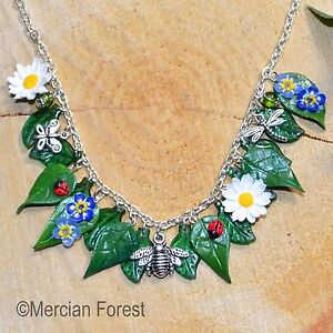 37efdba1e Summer Flowers Daisy and Forget Me Not Necklace - Handmade Clay ...