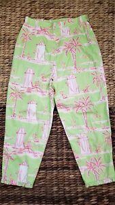 LILLY-PULITZER-girls-Size-14-Vintage-Capri-Green-Pink-Monkey-Beach