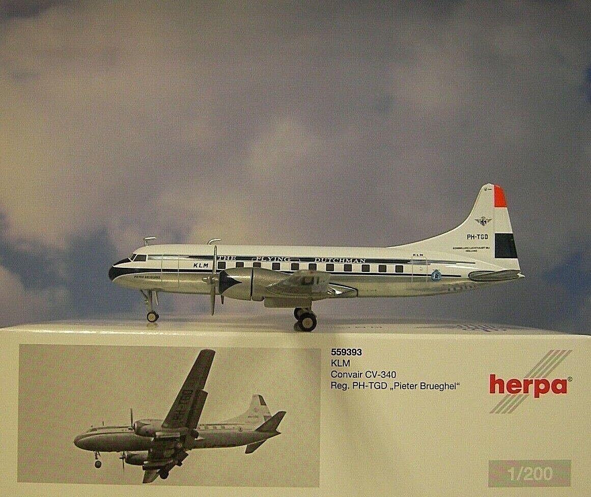 Herpa Wings 1 200 Convair cv-340 KLM PH-TGD Pieter Brueghel 559393