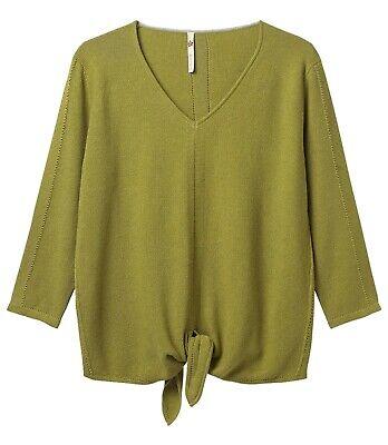 New White Stuff 6-16 Green Purple Canvas Tie Hem Cotton Loose Top Jumper Gift