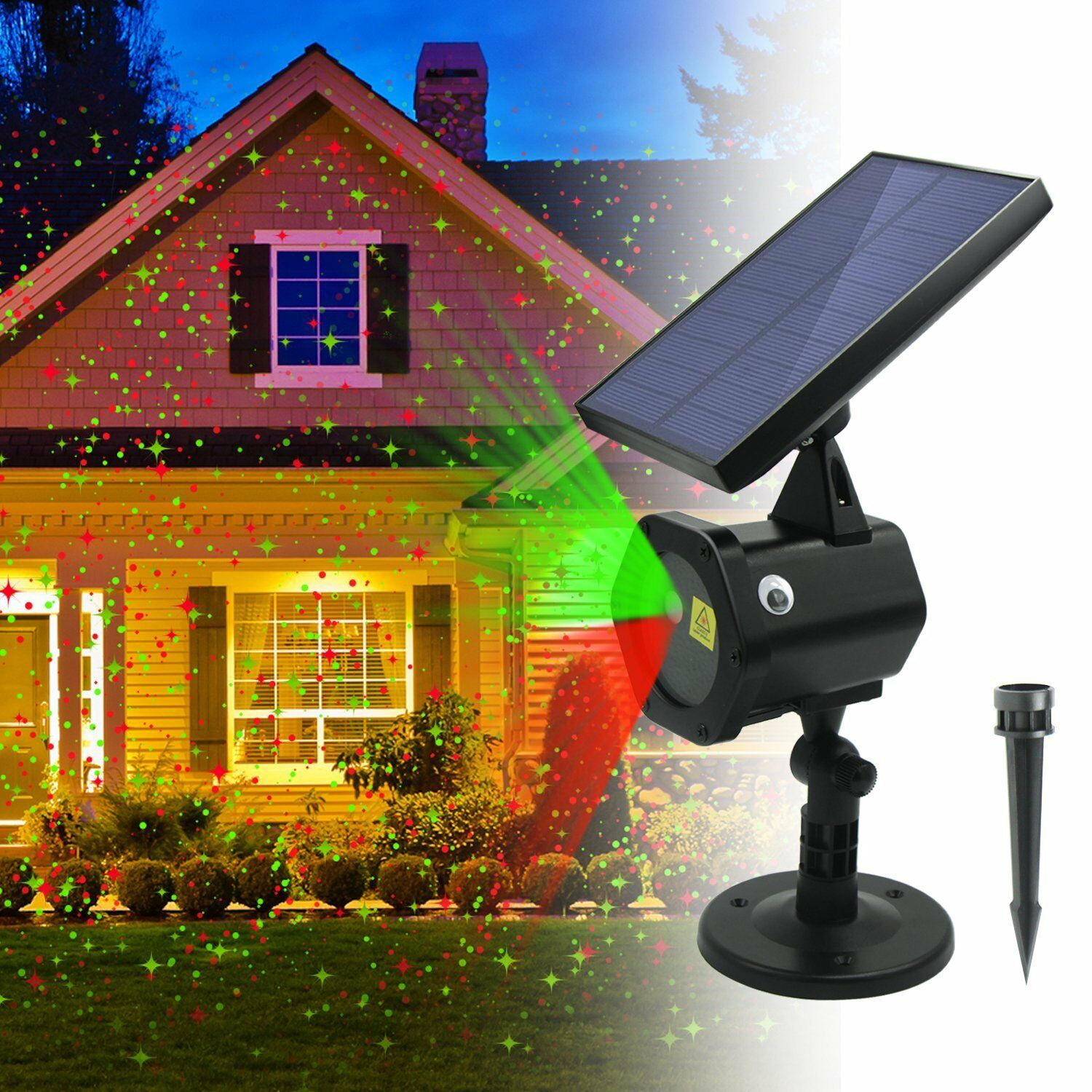 Waterproof Outdoor Christmas Lights Laser Solar Power Star