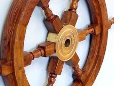 "24"" Wooden Ship Steering Wheel Pirate Decor Wood Brass Fishing Wall Boat"