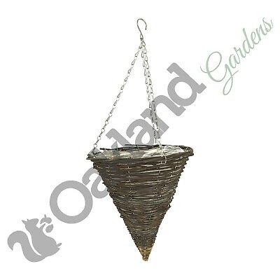 "2 X 14/"" NATURAL WICKER HANGING BASKET LINED 35CM RATTAN WILLOW FLOWER PLANTER"