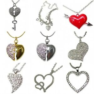 4cf20480e Large Silver Gold Red Heart Love Gift Long Chain Charm Fancy Pendant ...