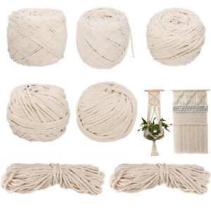 6mm 100m 100% Natural Cotton String Twisted Cord Beige Craft Macrame Artisan DIY