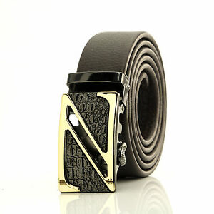 Automatic belt black snake skin look & gold buckle with  brown genuine leather