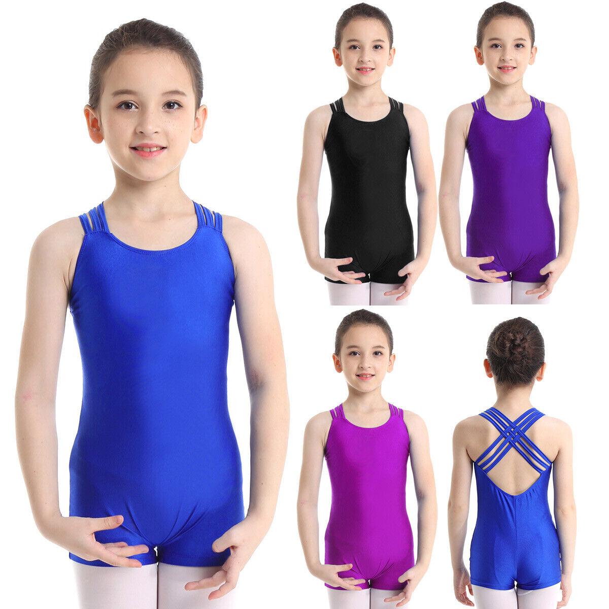 Kids Girls Gymnastics Ballet Dance Leotard Top Jumpsuits Sleeveless Dancewear