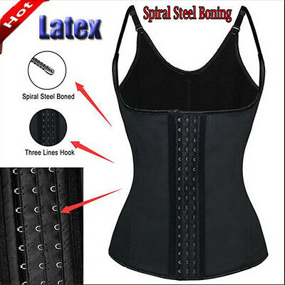 Womens Body Shaper Latex Rubber Waist Trainer Cincher Underbust Corset Shapewear