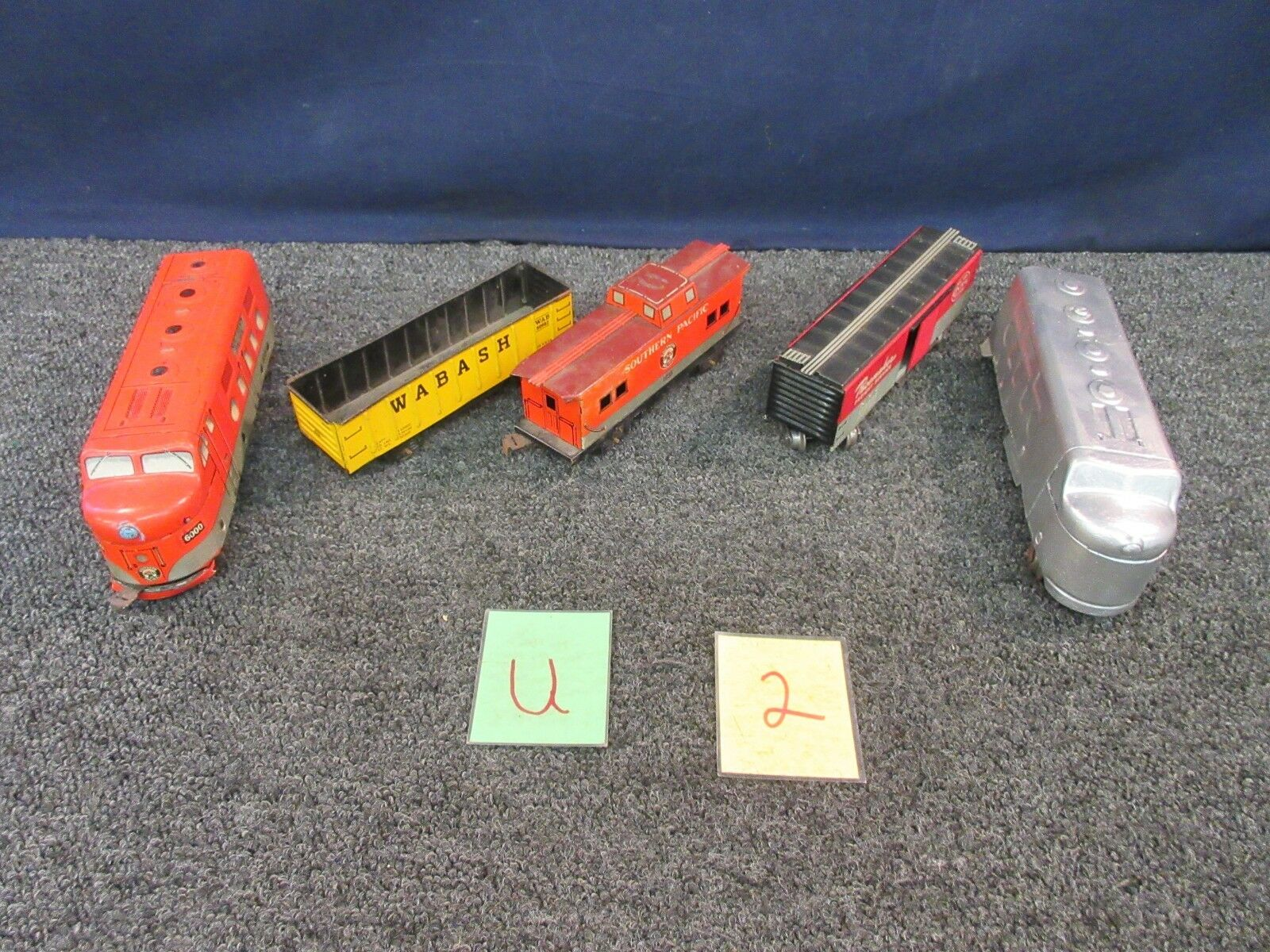 5 MODEL TRAIN CARS SOUTHERN PACIFIC WABASH PACEMAKER CABOOSE PASSENGER O SCALE