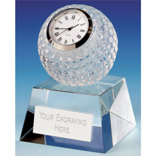 10 cm Dublin Crystal Clock Crystal Trophy FREE Engraving up to 30 Letters