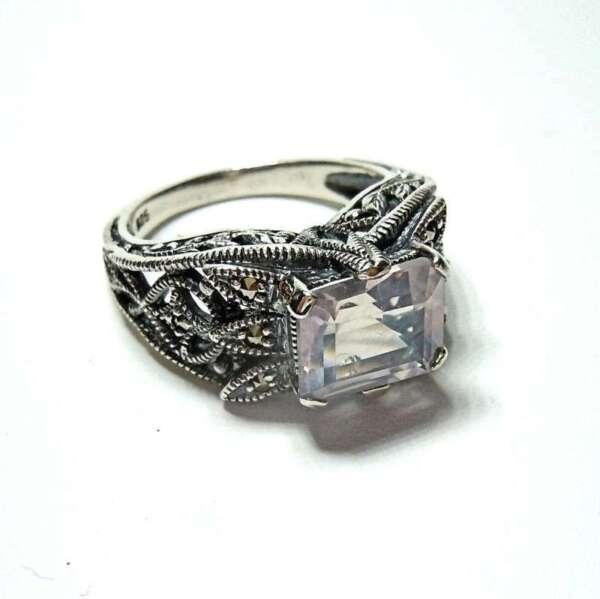 925 Silber Jugendstil Rosenquarz Ring Mit Markasiten Pforzheim Rg52 Fein Verarbeitet