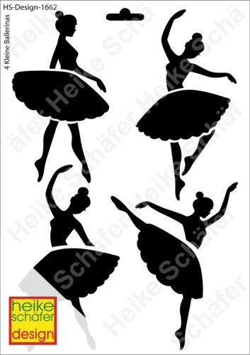 Pochoir-Stencil a4 027-1662 4-petites ballerines-Neuf-Heike Schäfer Design