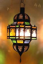 Moroccan handmade ceiling lamp multi color stained glass rustic moorish lantern