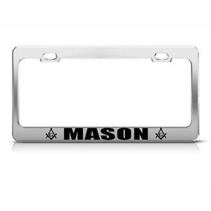 MASON CHROME PLASTIC FRAME MASON MASONIC MOSON License Plate Frame