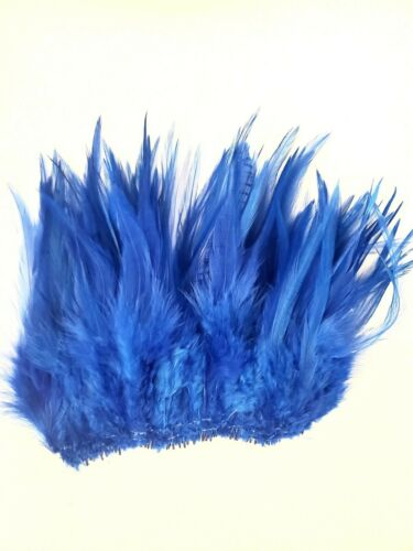 "ROYAL BRIGHT FANCY BLUE TEAL ROOSTER SADDLE CRAFT HAIR FEATHER 5/""-7/""L 50"