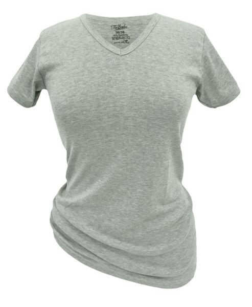 T-Shirt Damen Kurzarm 2er Pack Basic-Shirt 100% Baumwolle V-Ausschnitt Gr. 36-56