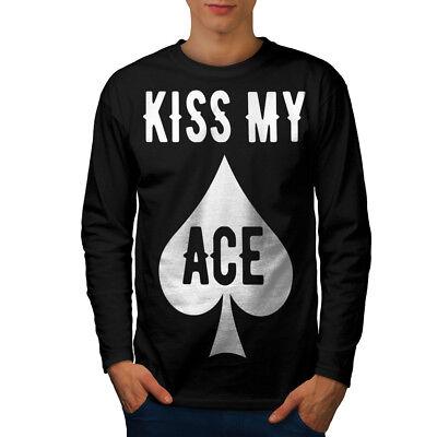 Kiss Casual Design Wellcoda Kiss my Ace Card Gamble Womens Long Sleeve T-shirt