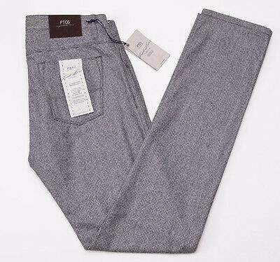NWT $550 PT01 Slim Heather Gray Houndstooth Flannel Wool Pants 34 PT05