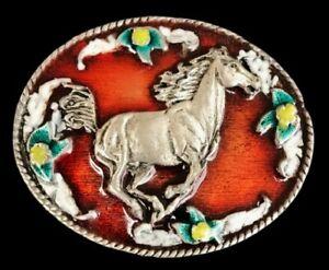 HORSE-FLOWER-BELT-BUCKLE-COWBOY-COWGIRL-RED-WESTERN-HIGH-QUALITY