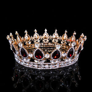5cm high ruby red sparkling crystal gold king crown wedding prom image is loading 5cm high ruby red sparkling crystal gold king altavistaventures Gallery