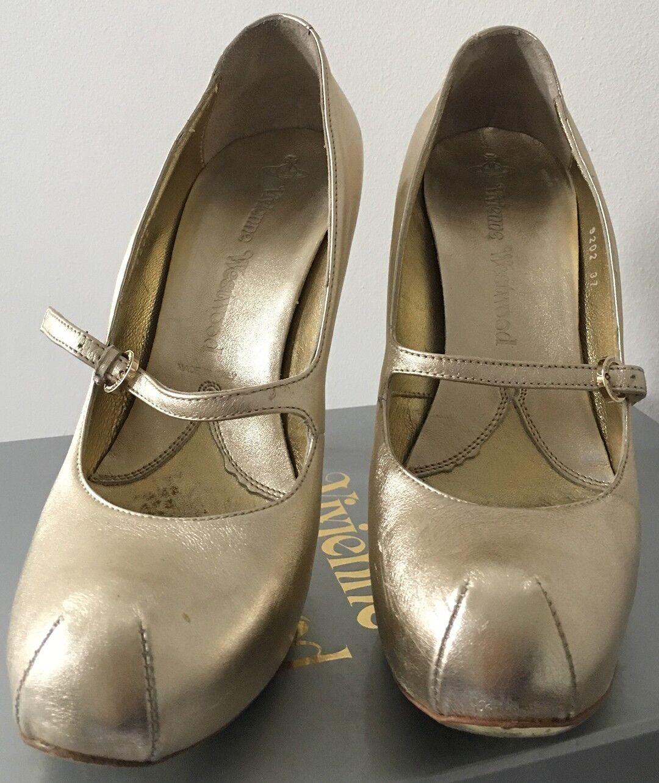 vendita di offerte Vivienne WESTWOOD Scarpe da da da donna di marca misura 4 Regno Unito, 37 EU oro in pelle tacco alto  sconto prezzo basso