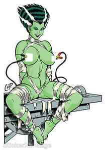 Electrified-Bride-STICKER-Decal-Poster-Artist-Coop-CP45-Frankenstein-LARGE-SIZE