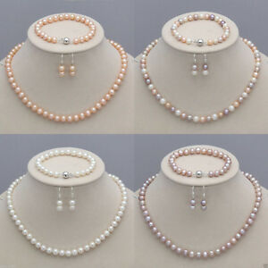 7-8mm-Real-Natural-Freshwater-Pearl-Necklace-Bracelet-Earrings-Jewelry-Set