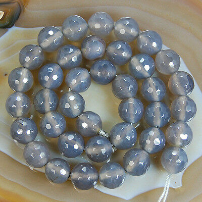15inches Faceted Gray Agate Round Beads 4mm 6mm 8mm 10mm 12mm