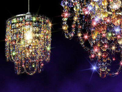 Multicoloured Crystal Ceiling Lamp Gypsy Shade Pendant Light Bedroom Chandelier