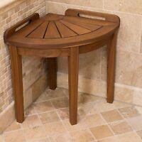 Shower Stool Corner Teak Seat Bathroom Spa Bench Chair Wood Bath Foot Rest