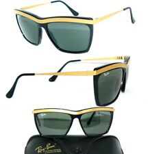1980s B&l Ray Ban W2023 Gold Finish G15 UV Rectangular Orbs