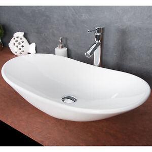 Details zu Keramik Waschschale Aufsatzwaschbecken Waschtisch Badezimmer  Waschplatz Oval Neu