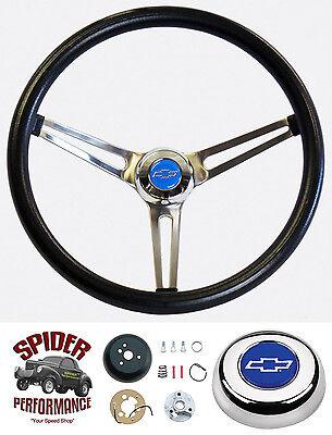 """1969-1973 Camaro steering wheel BLUE BOWTIE Grant 15"""" MUSCLE CAR STAINLESS wheel"""