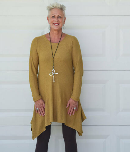 CUT LOOSE USA  7914 Linen Jersey  FIT /& FLARE SWING TUNIC  XS S M L XL 2017 FALL