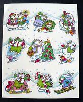 Vintage 1990 Gibson Christmas Snowman Playful Scenes 9 Stickers 1 Sheet Snowman