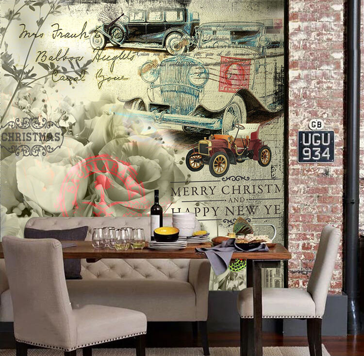3D Graffiti car flowers Wall  Paper wall Print Decal Wall Deco Indoor wall Mural
