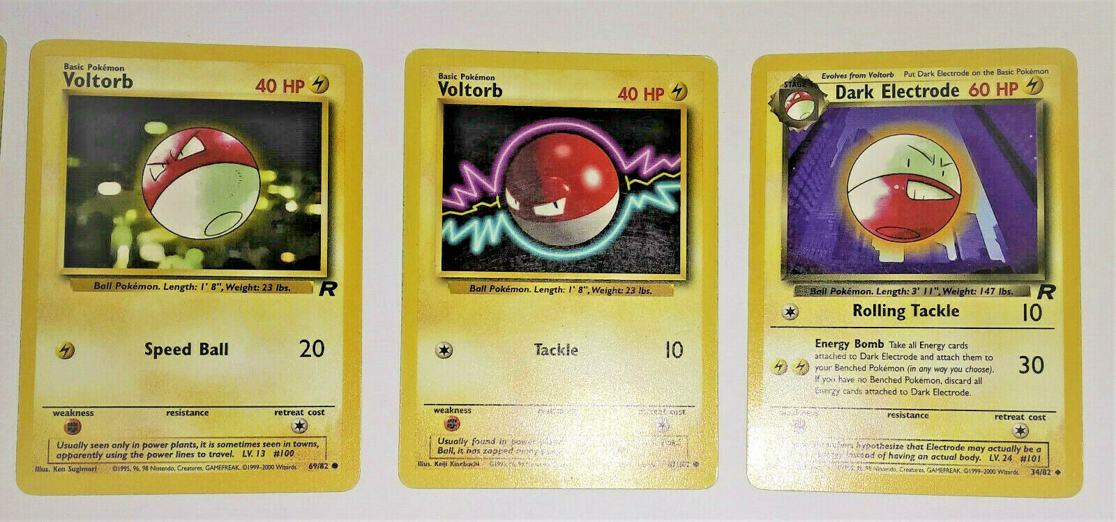 Three RARE Voltorb Cards and One Electrode Pokémon Card Card Card from year 1999 a45839
