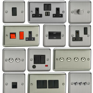 Varilight-Matt-Chrome-Standard-Plate-Switches-Sockets-etc-with-Black-Inserts