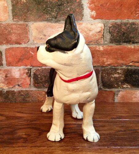 Cast Iron Black /& White Boston Terrier Dog Vintage Door Stop